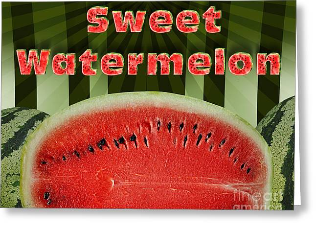 Watermelon Mixed Media Greeting Cards - Sweet Watermelon Greeting Card by Bedros Awak