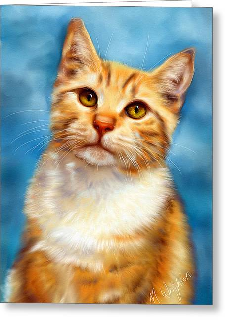 Michelle Wrighton Greeting Cards - Sweet William Orange Tabby Cat Painting Greeting Card by Michelle Wrighton