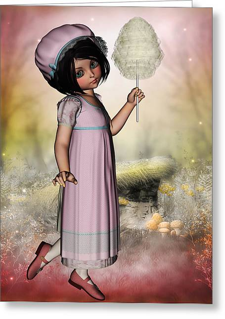 Sweetly Greeting Cards - Sweet young vintage girl with candy floss in hand Greeting Card by Nelieta Mishchenko