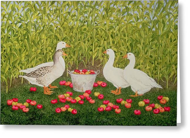 Cornfield Paintings Greeting Cards - Sweetcorn Geese Greeting Card by Ditz