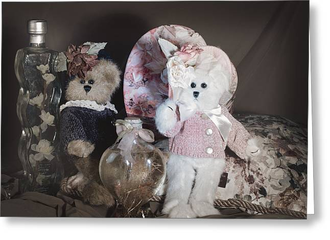 Baby Room Greeting Cards - Sweetheart Bears Vintage Greeting Card by Camille Lopez