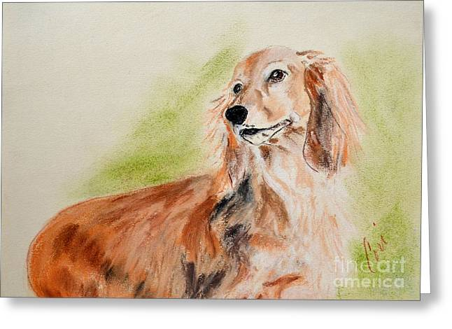 Puppies Pastels Greeting Cards - Sweetie Pie Greeting Card by Cori Solomon