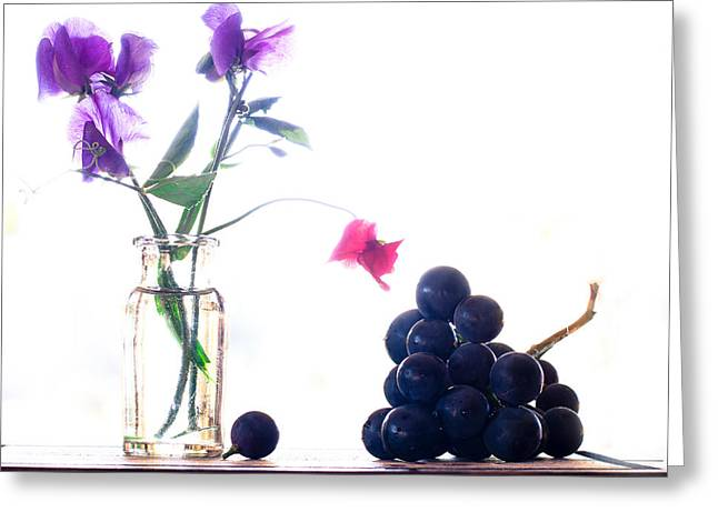 Glass Vase Photographs Greeting Cards - Sweetpea And Grapes Greeting Card by Constance Fein Harding