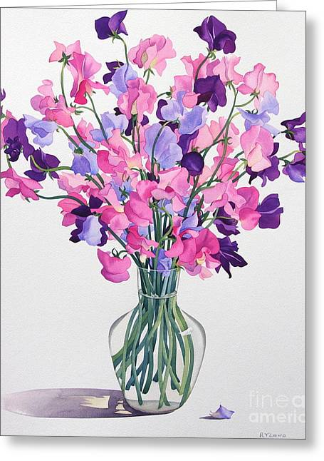 Best Sellers -  - Glass Vase Greeting Cards - Sweetpeas Greeting Card by Christopher Ryland