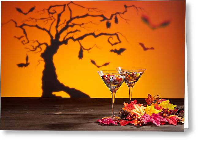 Pine Cones Greeting Cards - Sweets in Halloween setting with tree Greeting Card by Ulrich Schade