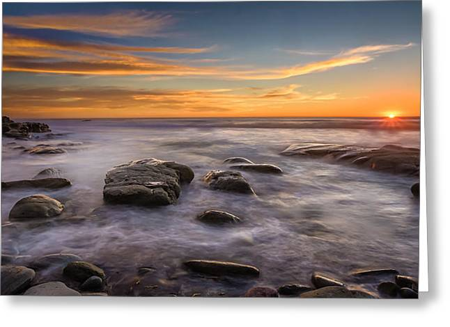 Cloud Formations Greeting Cards - Swell Sunset Greeting Card by Peter Tellone