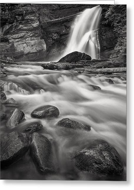 Black And White Waterfall Greeting Cards - Swept Away Greeting Card by Jon Glaser