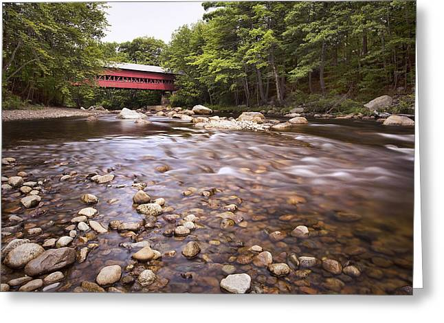North Conway Greeting Cards - Swift River Bridge Greeting Card by Eric Gendron