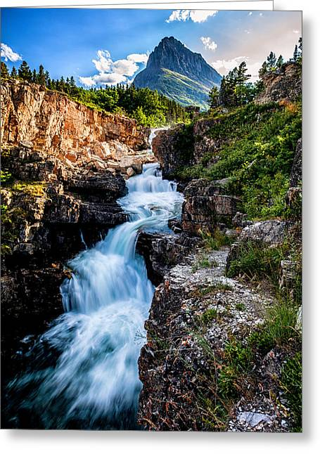 Glacier National Park Greeting Cards - Swiftcurrent Falls Greeting Card by Aaron Aldrich