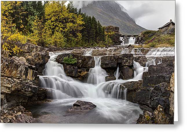 Many Glacier Greeting Cards - Swiftcurrent Falls in Autumn Greeting Card by Mark Kiver