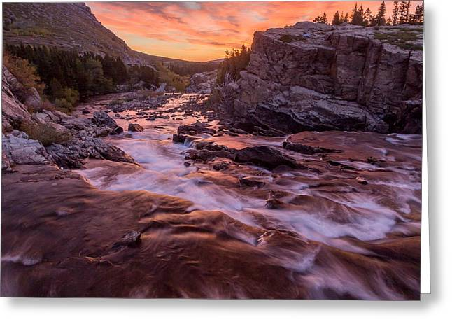Swiftcurrent Falls Greeting Cards - Swiftcurrent Falls Sunrise Greeting Card by Matthew Parks