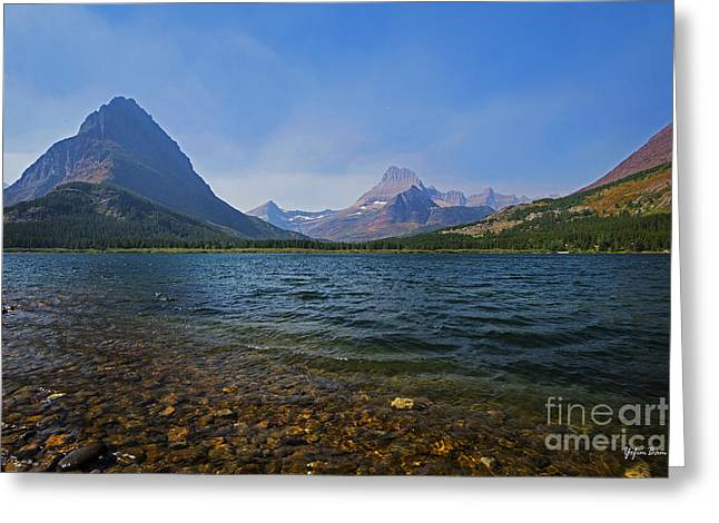 Swiftcurrent Falls Greeting Cards - Swiftcurrent Lake Glacier National Park Greeting Card by Yefim Bam