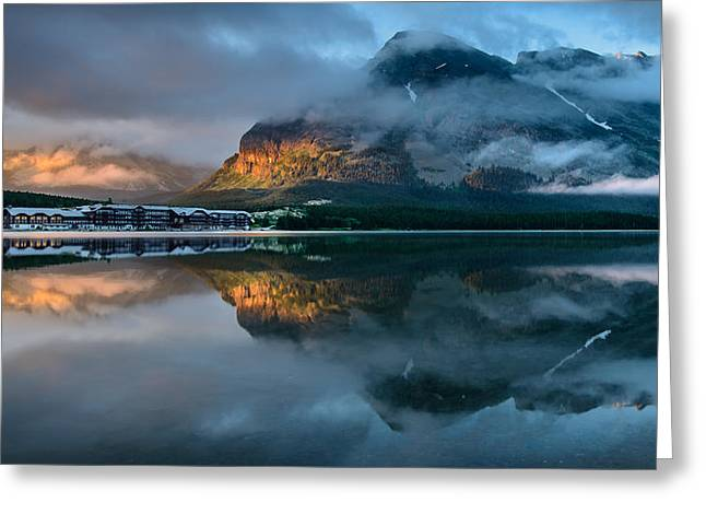 Many Glacier Greeting Cards - Swiftcurrent Lake Sunrise Greeting Card by Dan Mihai