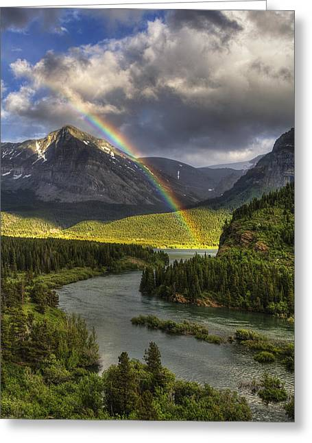 Swiftcurrent River Rainbow Greeting Card by Mark Kiver