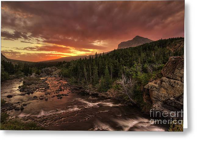Swiftcurrent Falls Greeting Cards - Swiftcurrent River Sunrise Greeting Card by Mark Kiver
