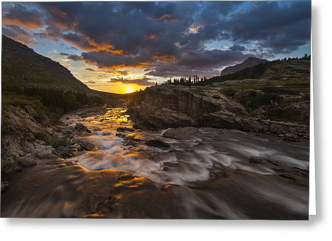 Many Glacier Greeting Cards - Swiftcurrent Sunrise Greeting Card by Joseph Rossbach