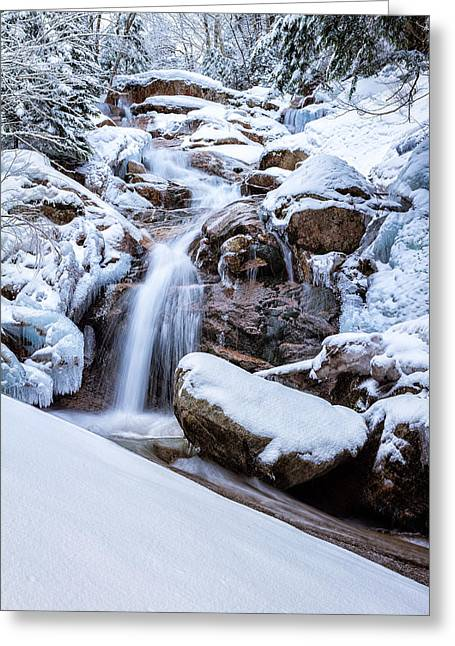 Snowy Brook Greeting Cards - Swiftwater Falls Winter Greeting Card by Jeff Sinon