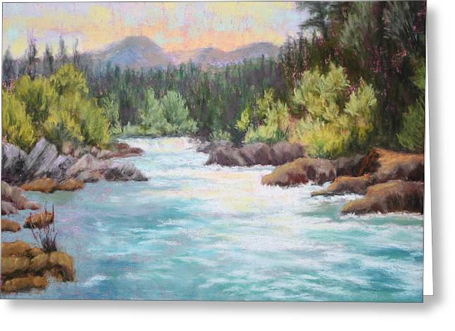 Oregon Pastels Greeting Cards - Swiftwater Greeting Card by Nancy Jolley
