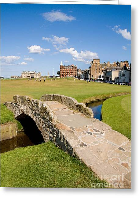 Golf Photographs Greeting Cards - Swilcan Bridge On The 18th Hole At St Andrews Old Golf Course Scotland Greeting Card by Unknown