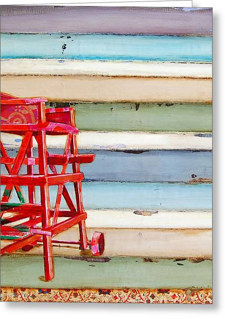 Chairs Mixed Media Greeting Cards - Swim At Your Own Risk Greeting Card by Danny Phillips