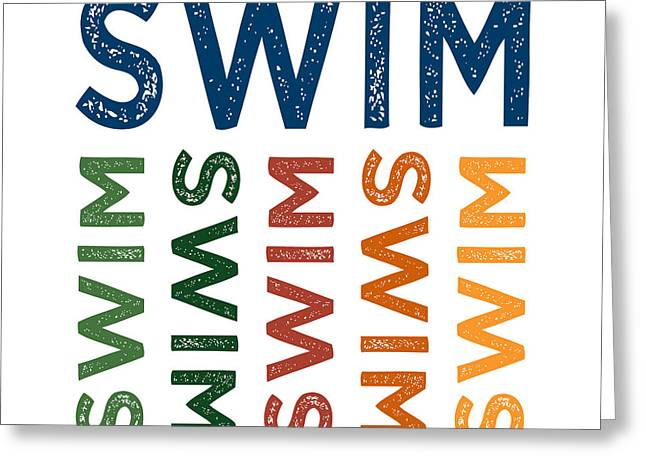 Swim Cute Colorful Greeting Card by Flo Karp