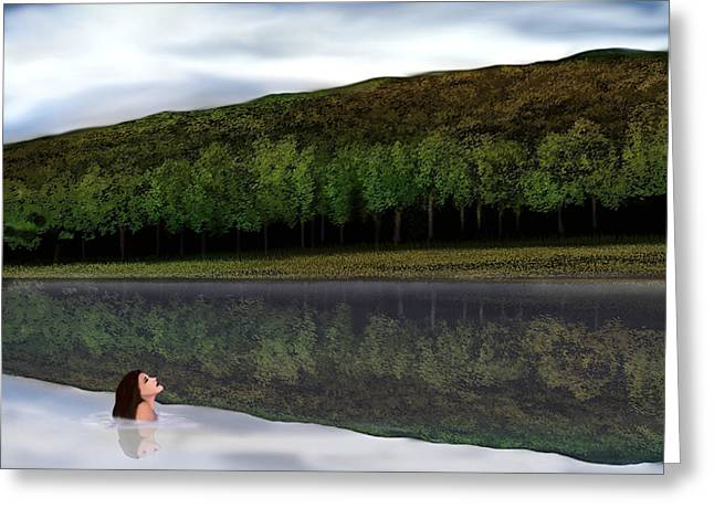 Swimmers Mixed Media Greeting Cards - Swimmer in Berkshire Lake  Greeting Card by John Townes