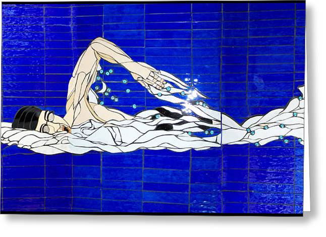 Men Glass Greeting Cards - Swimmer Greeting Card by Kimber Thompson