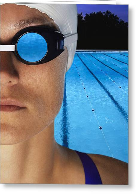 Recreational Pool Greeting Cards - Swimmer With Goggles Greeting Card by Don Hammond