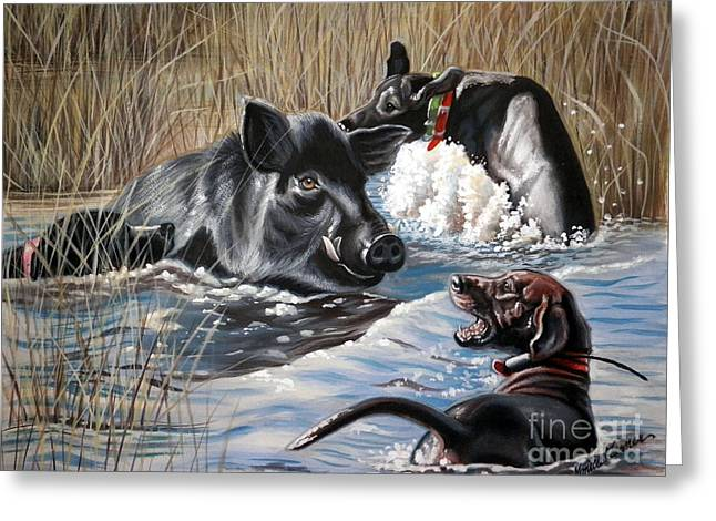 Catahoula Greeting Cards - Swimmers Ear Greeting Card by Monica Turner