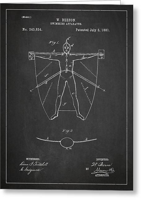 Water Sports Greeting Cards - Swimming Apparatus Patent Drawing From 1881 Greeting Card by Aged Pixel