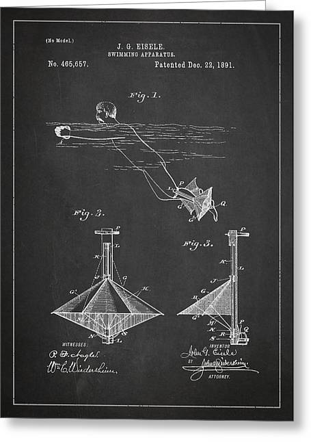 Water Sports Greeting Cards - Swimming Apparatus Patent Drawing From 1891 Greeting Card by Aged Pixel