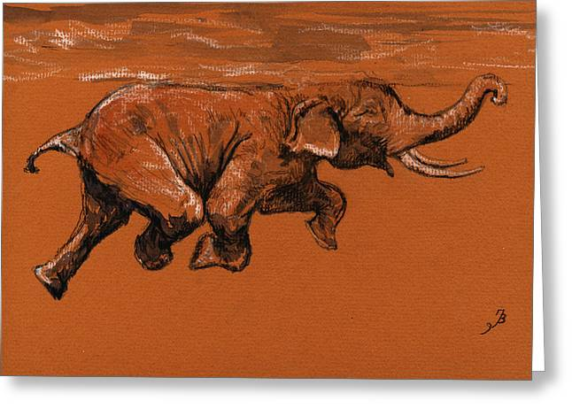Ivory Greeting Cards - Swimming elephant Greeting Card by Juan  Bosco