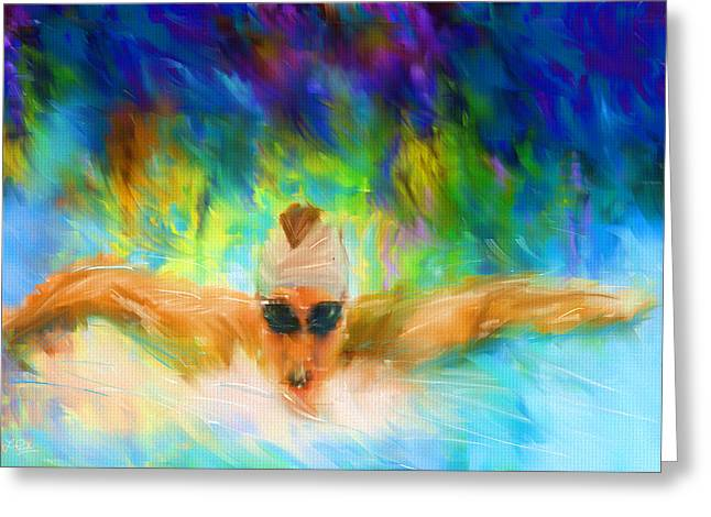 Water Sports Art Greeting Cards - Swimming Fast Greeting Card by Lourry Legarde