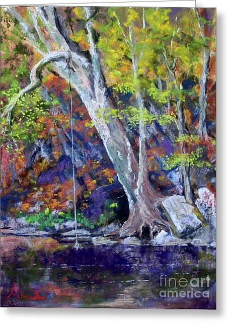 Rope Pastels Greeting Cards - Swimming Hole Greeting Card by Bruce Schrader