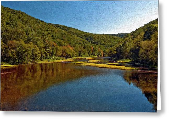 Lazy Digital Art Greeting Cards - Swimming Hole impasto Greeting Card by Steve Harrington