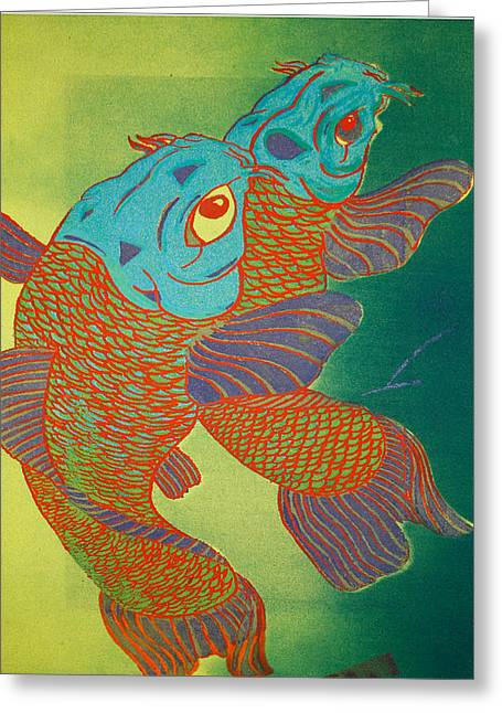 Swimming In A Green Sea Greeting Card by Trance Briguglio