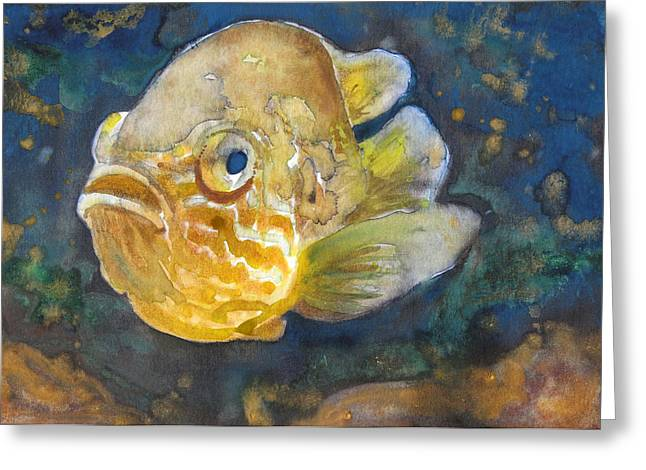 Fish Framed Prints Mixed Media Greeting Cards - Swimming In The Deep Greeting Card by Susan Powell