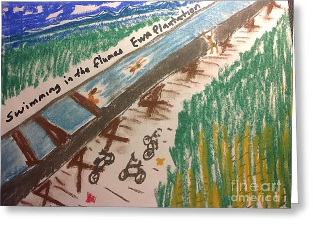 Ewa Greeting Cards - swimming in the flumes Ewa Plantation Hawaii Greeting Card by Willard Hashimoto