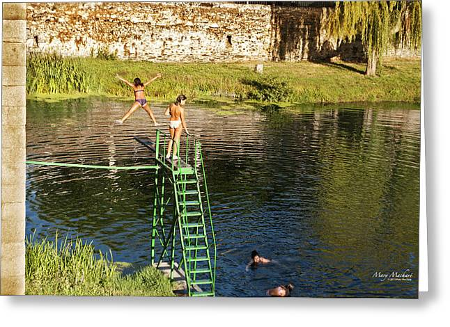 Diving Board Greeting Cards - Swimming in the River Greeting Card by Mary Machare
