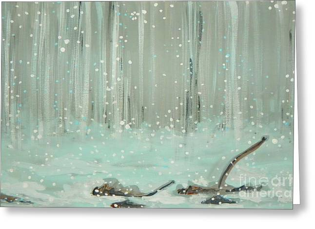 Puddle Paint Greeting Cards - Swimming Leaves Greeting Card by Marisela Mungia