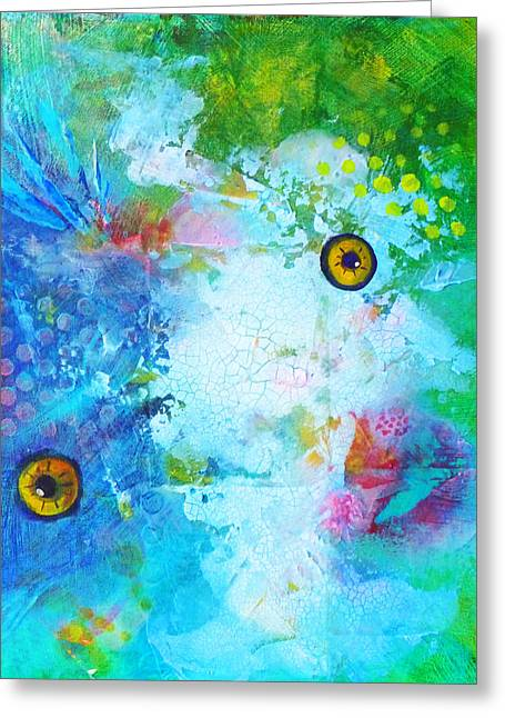 Artistic Fish Abstraction Greeting Cards - Swimming Greeting Card by Nancy Merkle