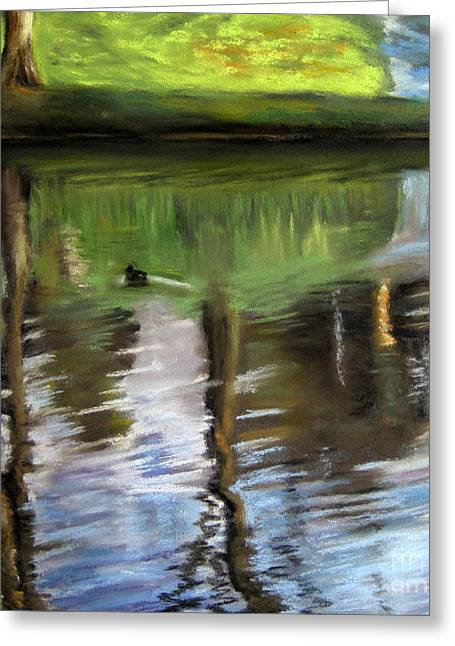 Seen Pastels Greeting Cards - Swimming through the Mirror Greeting Card by Ulrike Miesen-Schuermann