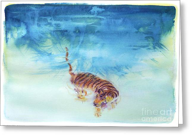 Peaceable Greeting Cards - Swimming Tiger - 1 Greeting Card by Terry Burkes
