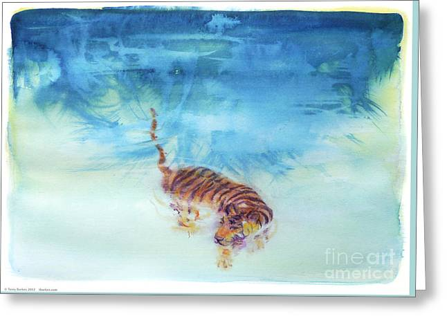 Swimming Tiger - 1 Greeting Card by Terry Burkes