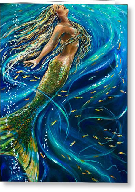 Underwater Mermaid Greeting Cards - Swimming to the Surface Greeting Card by Linda Olsen