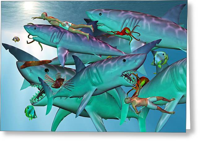 Fish Digital Greeting Cards - Swimming with the Big Boys Greeting Card by Betsy C  Knapp