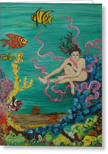 Avis Greeting Cards - Swimming With The Fish Greeting Card by Avis Fox