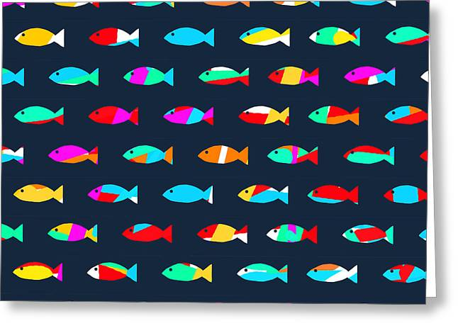 Pattern Greeting Cards - Swimming with The Fishes Greeting Card by Budi Satria Kwan