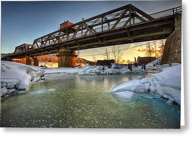 40mm Greeting Cards - Swing Bridge Frozen River Greeting Card by Jakub Sisak