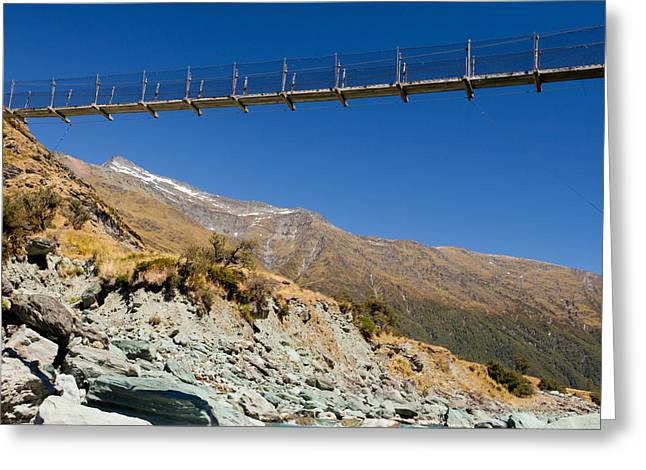 Swing Span Greeting Cards - Swing bridge high over glacial river New Zealand Greeting Card by Stephan Pietzko
